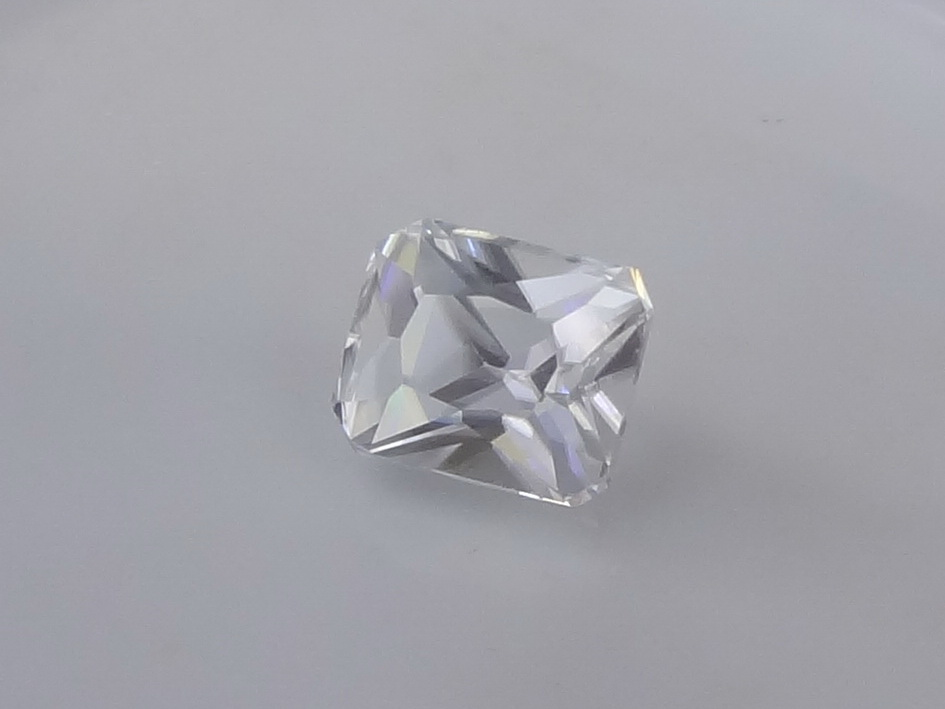 Trimmed rectangle cut white Zircon from Ratanakiri 4.6 carats