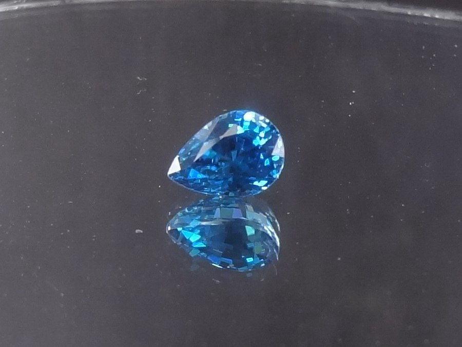 Best Color / A-Grade Blue Zircon, Nearly Royal Blue, 1.935ct, Pear/Drop Shaped.