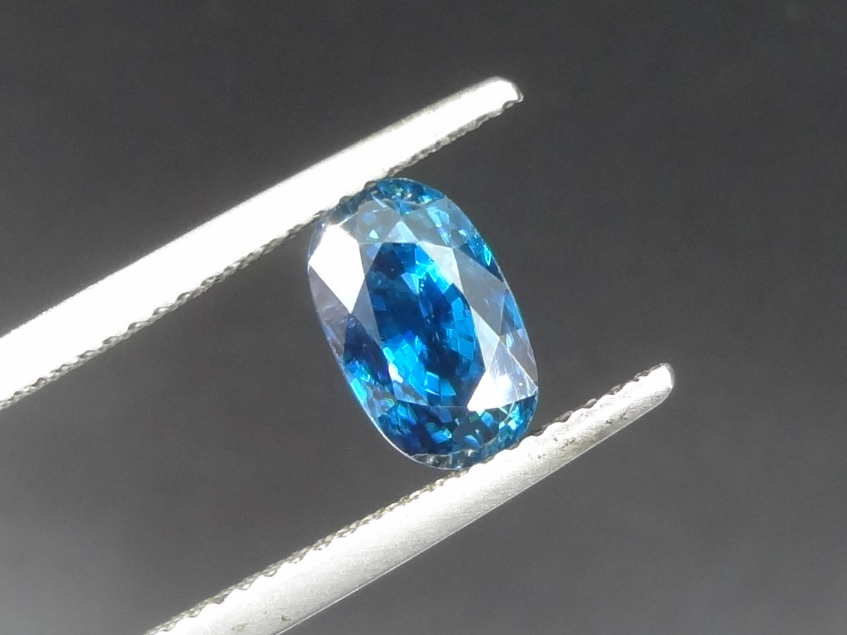 Deep Saturated Blue Zircon Oval Gemstone For Sale