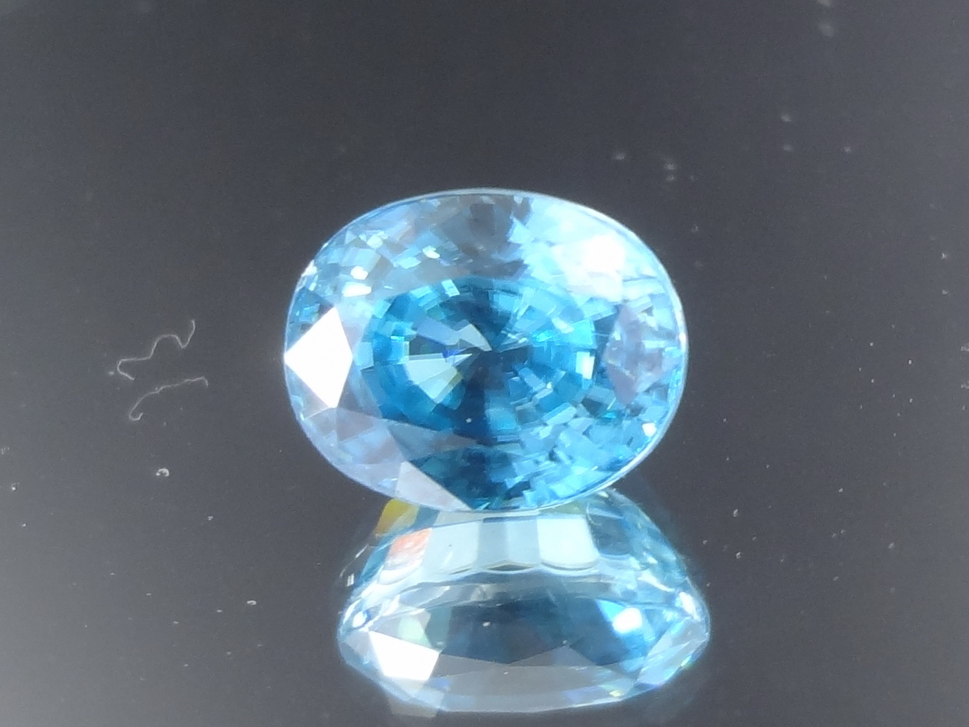 Excellent Colour Clean Cambodia Blue Zircon, 7.55 Carats Oval Cut