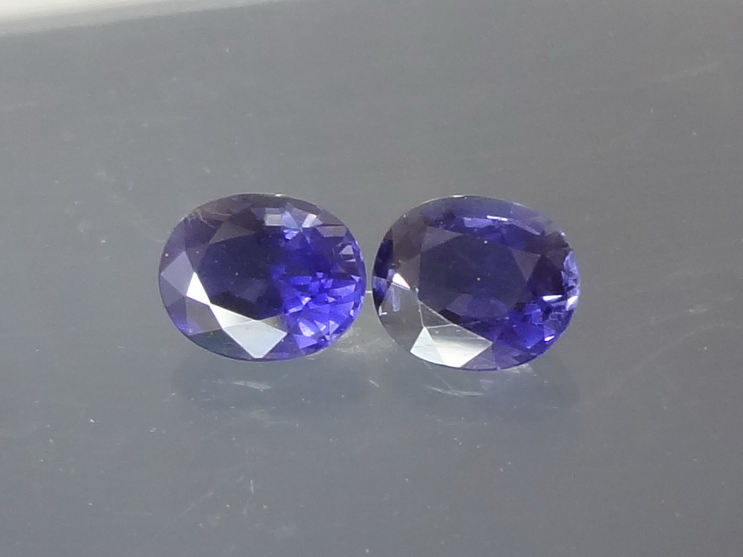 Affordable Purple Iolite Gemstones Pair with oval cut