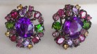 Natural Amethyst and mix gemstones earrings, rich and colorful natural gemstone earrings jewel.